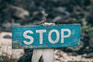 Sign written STOP