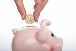 Put money in a piggy bank