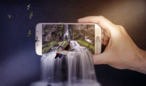 A waterfall is flowing from the smartphone screen