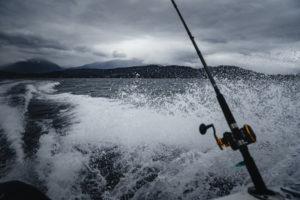 Fishing in the rough sea