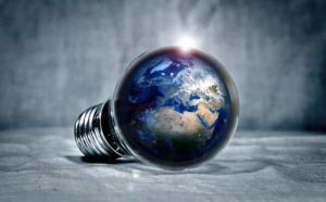The earth is in the light bulb