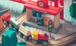 Toy train running