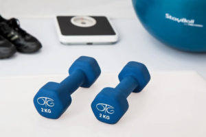 There's a 2 kg dumbbell