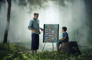 Teacher teaches children to study in the woods