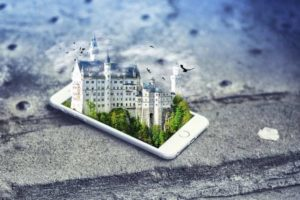 A 3D image of the castle pops out of the smartphone